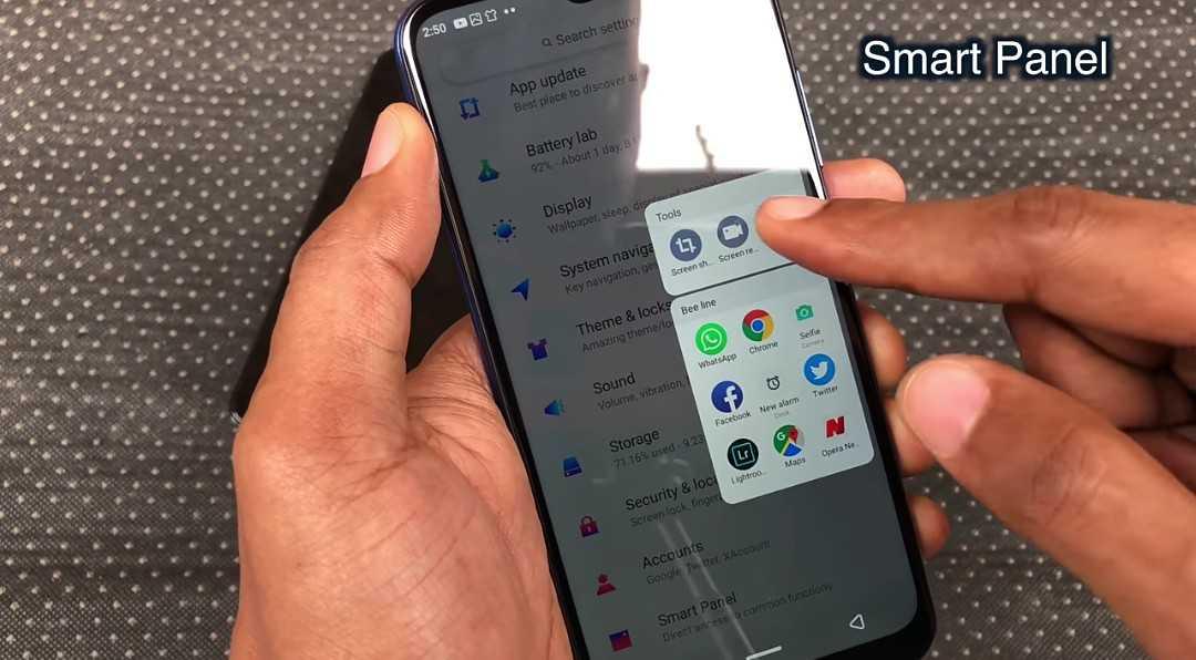 Infinix Hot S4 smart panel