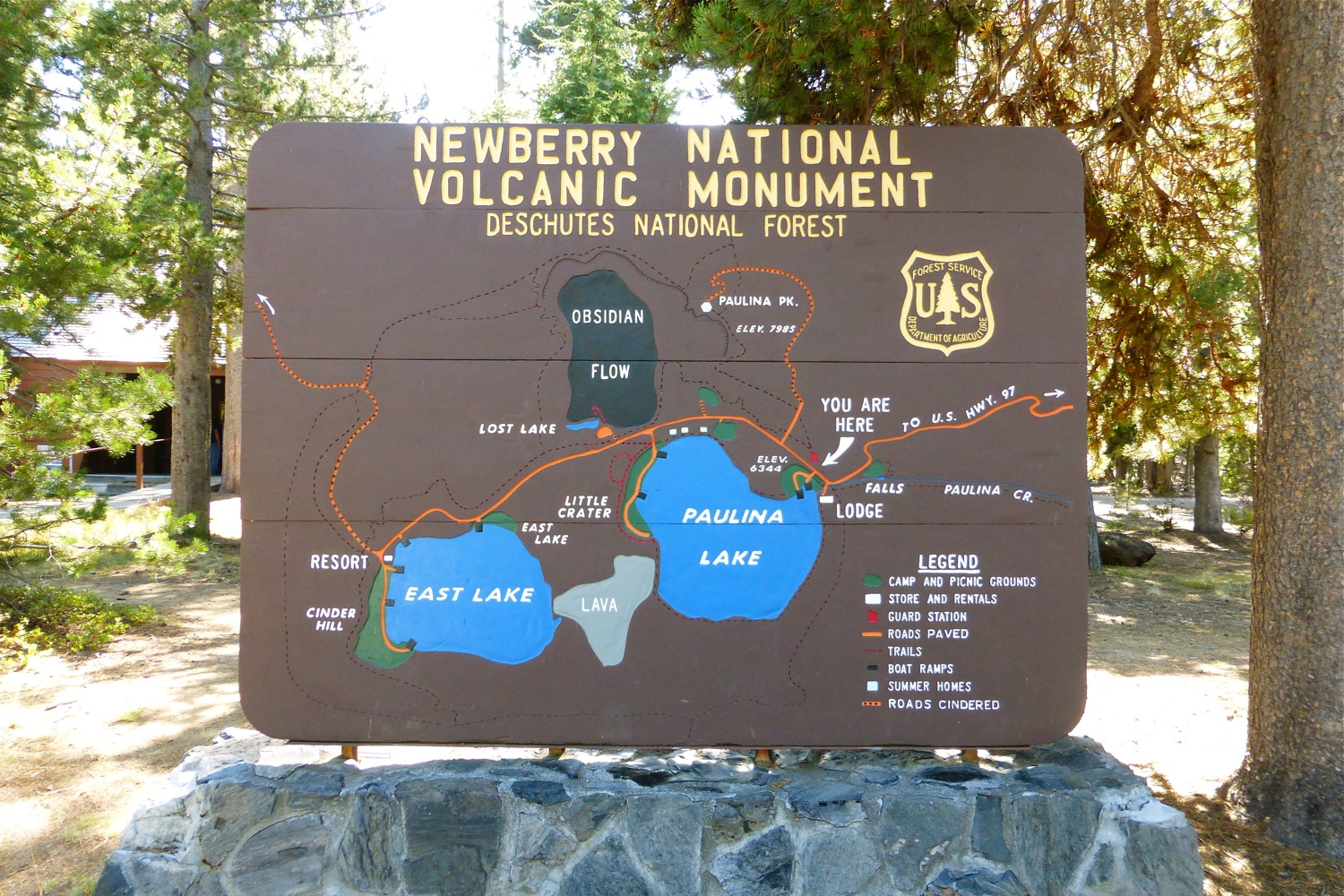 Map of Newberry National Volcanic Monument, Lakes of Newberry National Volcanic Monument, East Lake Newberry National Volcanic Monument, Paulina Lake Newberry National Volcanic Monument