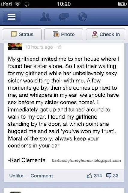 Moral of the story - Always keep your condoms in your car!