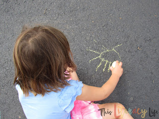 Chalk is perfect for drawing and labeling to learn basic words for young children.