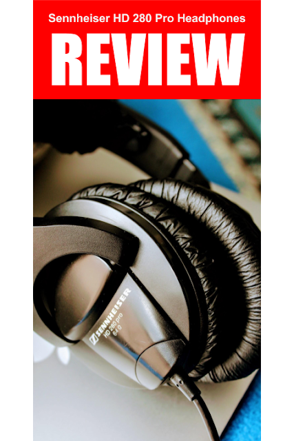 "Sennheiser HD 280 Pro Headphones - A photo of the headphones on top of a Macbook Air with bold letters that say ""Review"""