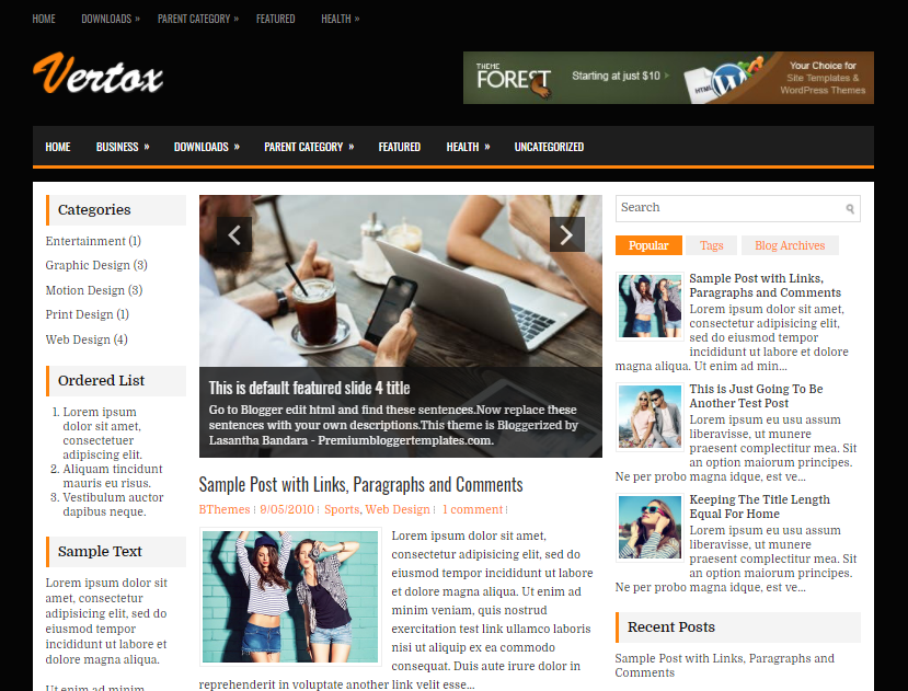 Vertox Blogger Template has a Auto Post Summaries Free Download Vertox