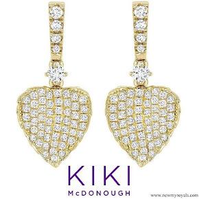 Kate Middleton wore KIKI McDonough Lauren Yellow Gold Diamond Pave Leaf Earrings