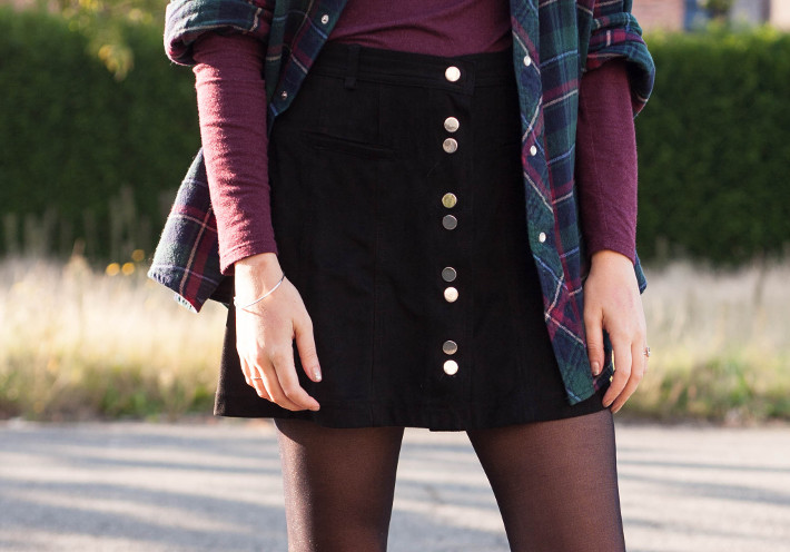 suedette button through skirt