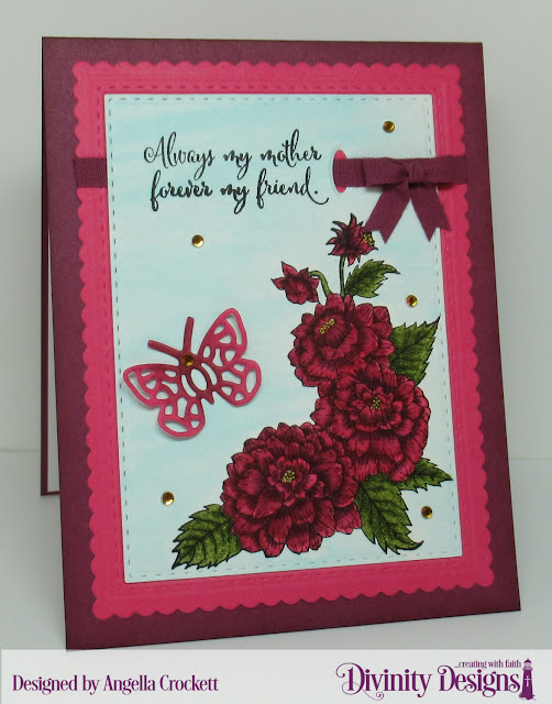 Divinity Designs: Daughter's Best Friend, Mini Bow Die, Scalloped Rectangles Dies, Double Stitched Rectangles Dies, Bitty Butterflies Dies, Card Designer Angie Crockett