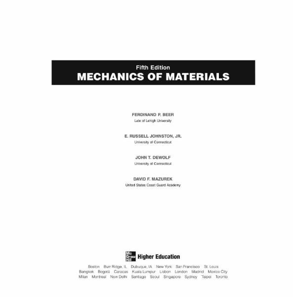 MECHANICS OF MATERIALS BY FERDINAND P. BEER,E. RUSSELL