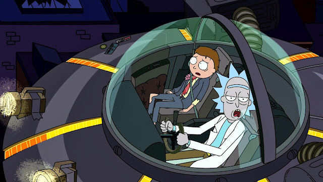 Rick's ride is a little boring-looking. A flying saucer? C'mon, you can do a lot more fucking baller than that, Rick.