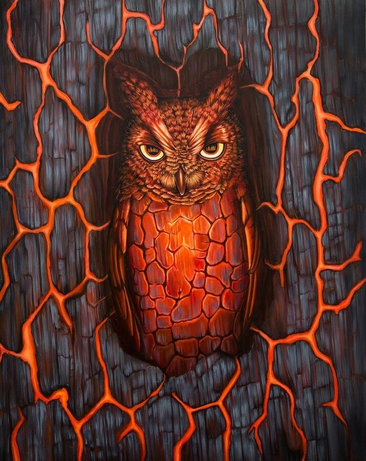 02-Lava-Owl-Jon-Ching-Animal-Oil-Paintings-www-designstack-co