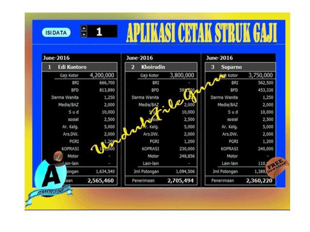 Download Aplikasi Cetak Struk Gaji Guru SD, SMP, SMA
