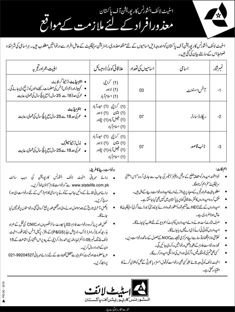 New Jobs In state Life Of insurance Of Pakistan For office assistant record sorter naib qasid apply now
