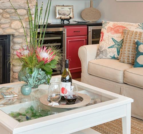 Ikea display table for a coastal living room