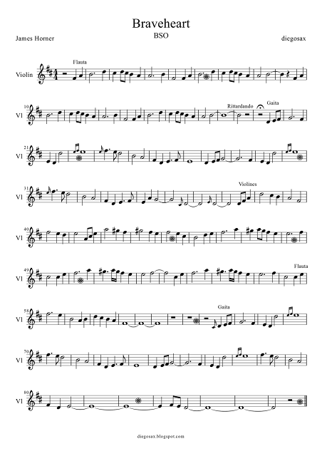 Partitura de Braveheart para Violín partitura del tema principal de la banda sonora de Braveheart para tocar con la música original, ¡para aprender y disfrutar tocando! Violin sheet music for Braveheart and recorder (score music)