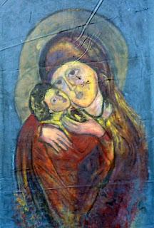 Wizerunek MB z Dzieciątkiem w tle.