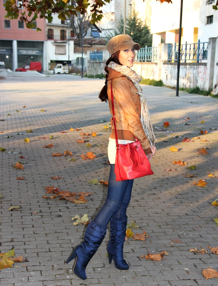 sporty boots and cap jeggings leather jacket, fall sporty looks