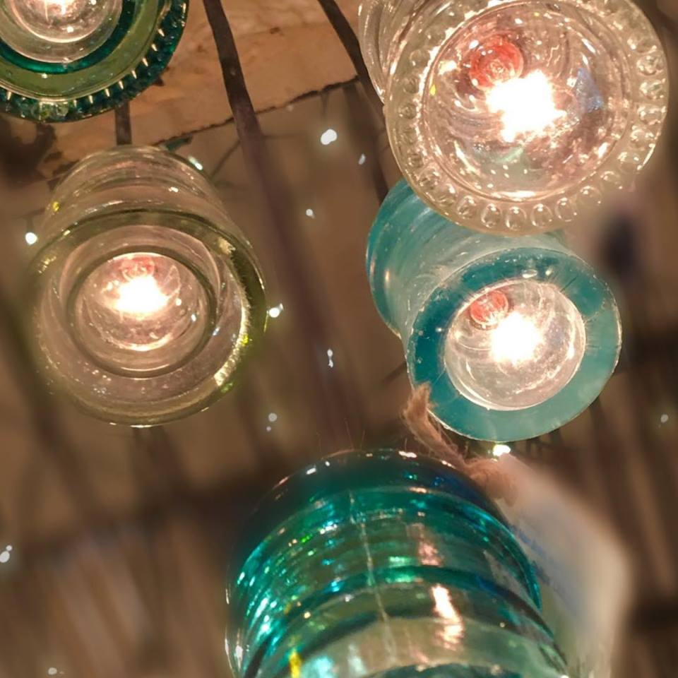 Well known Lil' Blue Goat: Antique Glass Insulator Chandelier LL09