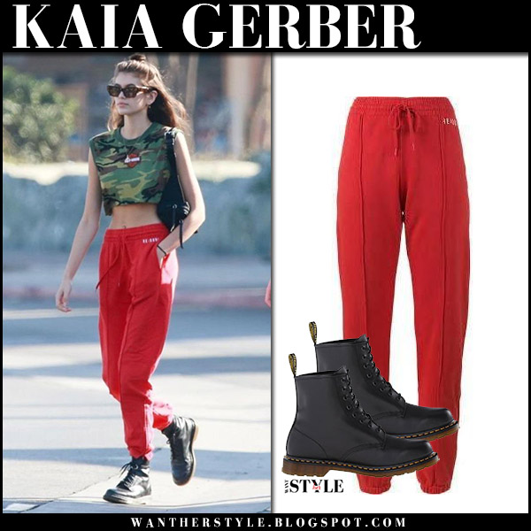 a9bd009e3d58 Kaia Gerber in red sweatpants redone, green crop top and black boots dr  martens 1460