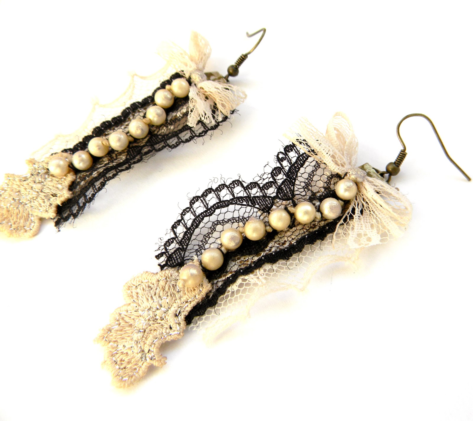 Handmade Earrings Textile Jewelry Laced Earrings