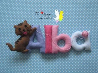 nombre-decoración-Alba-infantil-fieltro-felt-feltro-name-banner-regalo-personalizado