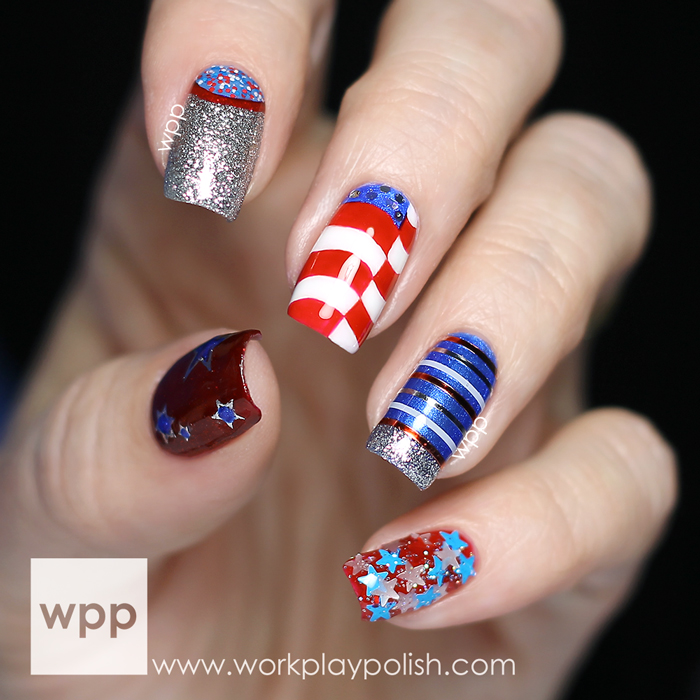 The Lacquer Legion OnHoliday Fourth of July Nail Art with Salon Perfect