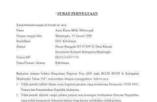 Contoh Surat Pernytaan Seleksi Pengadaan Pegawai Non ASN