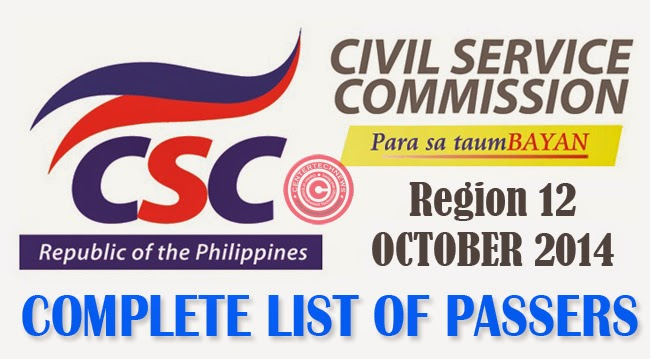 Region 12 Civil Service Exam Results October 2014- Paper and Pencil Test List of Passers