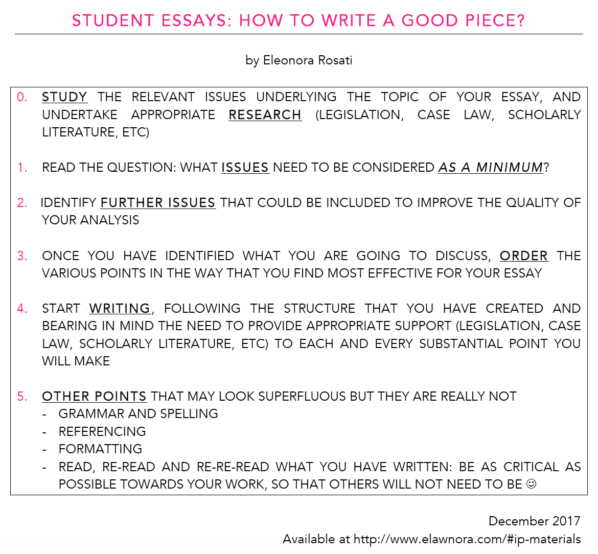 the ipkat student essays how to write a good piece  how can the checklist be applied in practice though