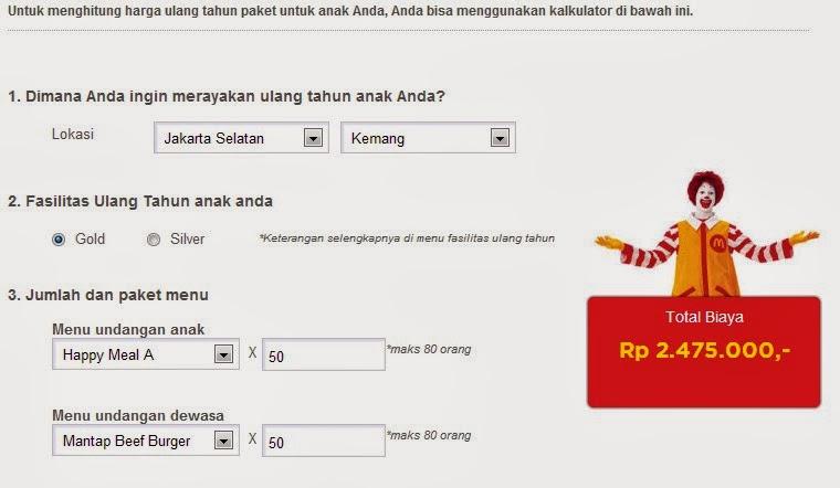 Hitung Biaya Ultah Anak Mc Donald Indonesia