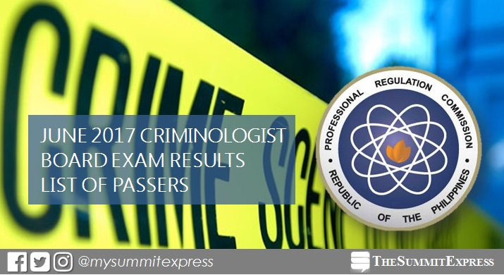 List of Passers: June 2017 Criminologist (CLE) board exam results