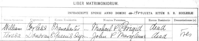 Marriage register, William Corless and Teresa Donovan, st Andrew's, June 1900,