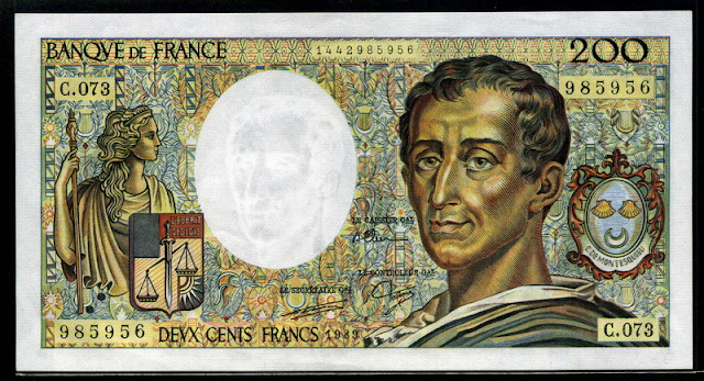 France money currency French Franc euro Montesquieu banknote