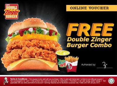 Kfc Free Double Zinger Burger Combo Malaysia Free