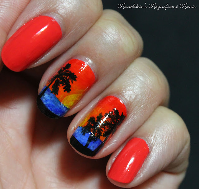 Topical Sunset Nail Design