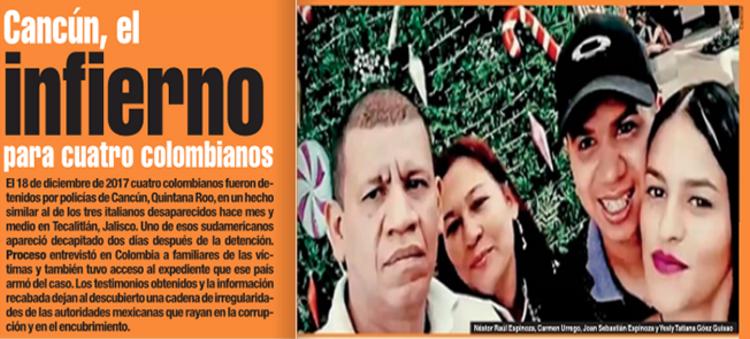 """Policías de Cancún """"levantaron"""" a cuatro Colombianos, los entregaron al CJNG y solo uno aparecio...ejecutado"""