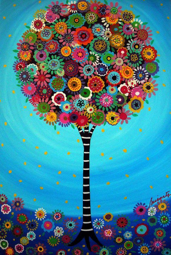 Mexican Folk Art Tree of Life Bar Bat Mitzvah Painting by prisarts