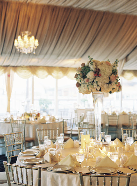 Chic table decor at Bridgeview Yacht Club for Jin and Andrew's wedding reception