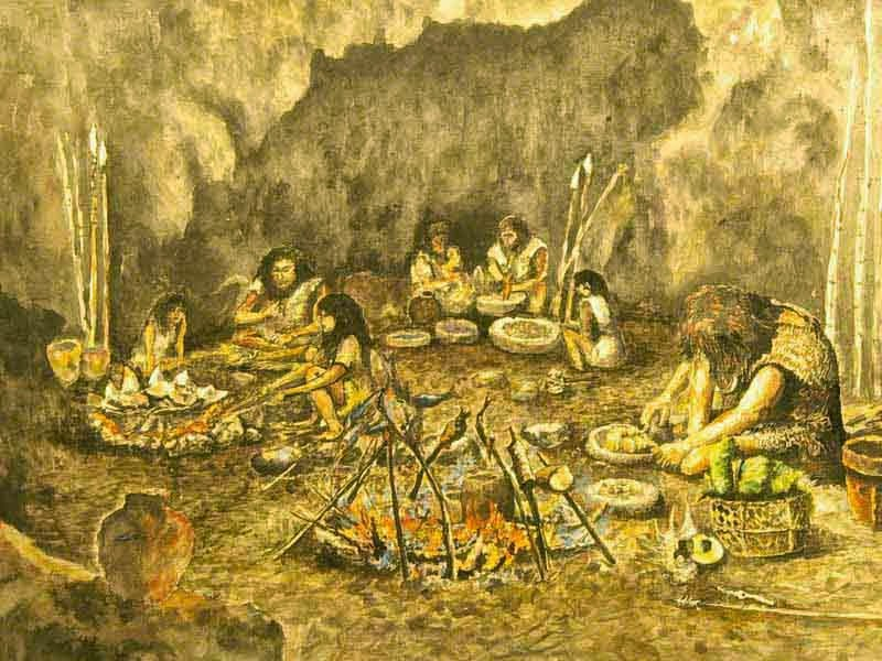 art depicting early Okinawan cave dwelling