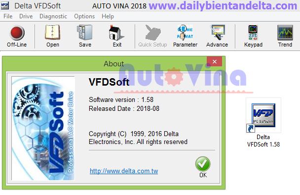 Phần mềm kết nối biến tần Delta VFD Soft Version 1.58 mới nhất ngày 25/07/2018