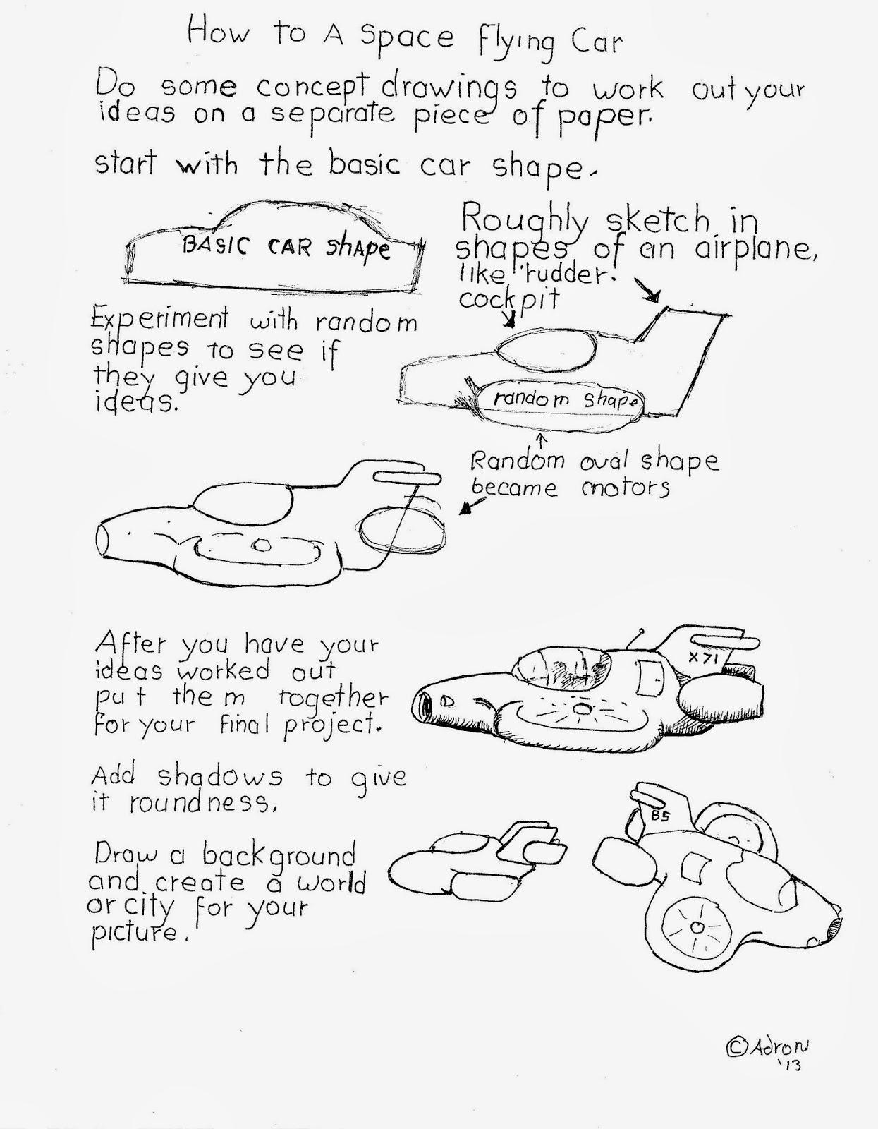 How To Draw Worksheets For The Young Artist How To Draw A Space Fying Car