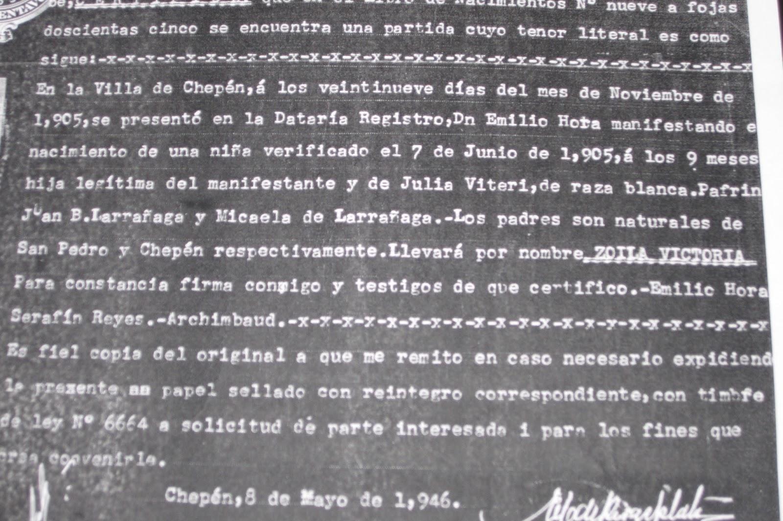 Zoila Hora de Robles : COPIA FOTOSTÁTICA DE LA PARTIDA DE NACIMIENTO ...