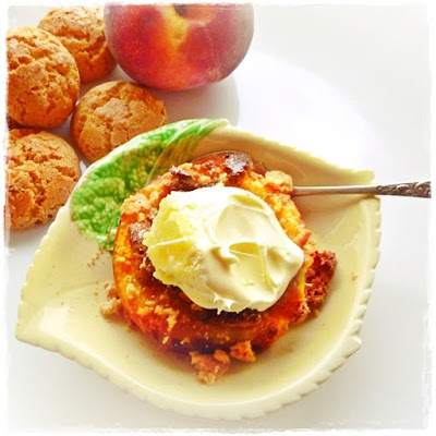 baked amaretti stuffed peach and clotted cream