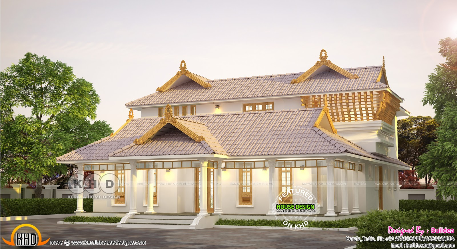 Beautiful and stylish kerala traditional home design for Traditional house plans kerala style