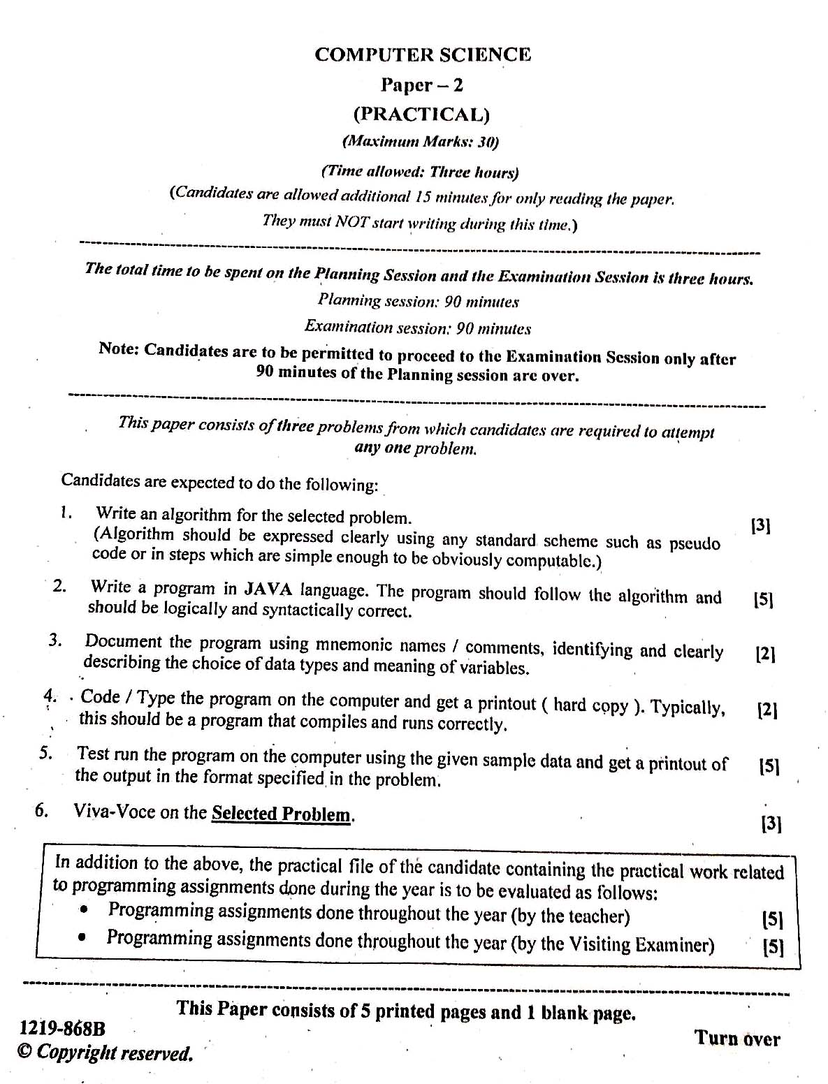 ISC 2019 Computer Science Practical Question Paper