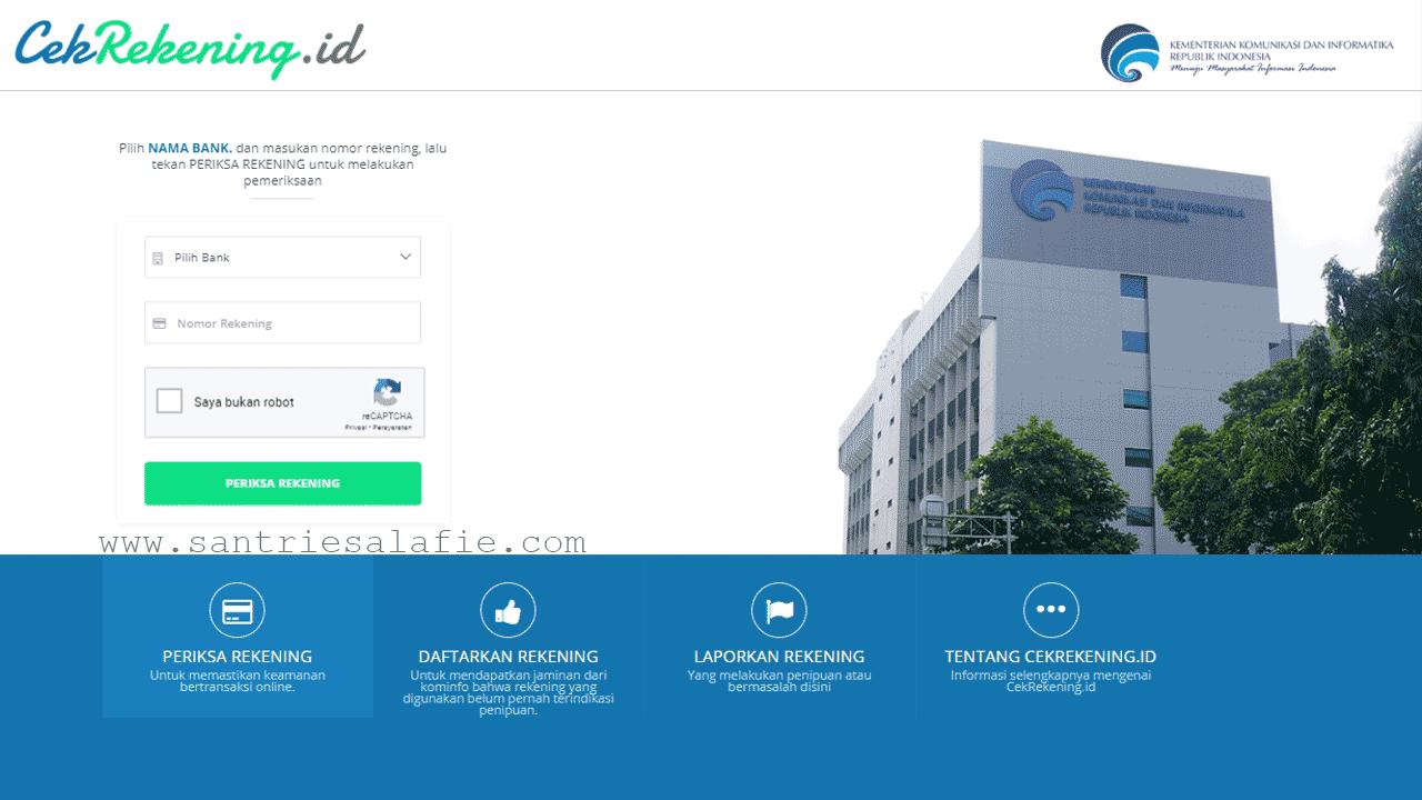 Situs Resmi Kominfo CekRekening.id | Laporkan Penyalahgunaan Rekening by Santrie Salafie