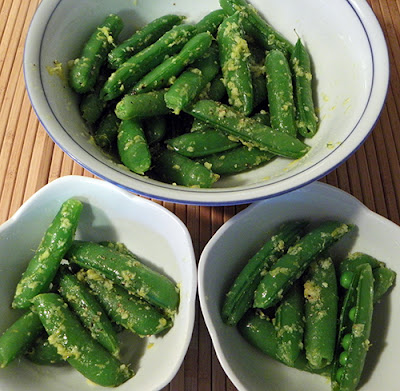 Serving Bowl and two individual servings of Snap Peas with Ginger and Lemon