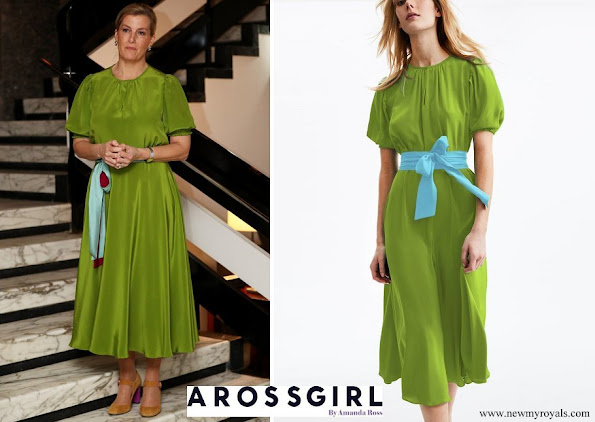 Countess of Wessex ARoss Girl Brooke belted silk crepe de chine midi dress