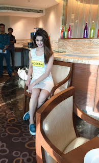 Urvashi Rautela in white striped dress