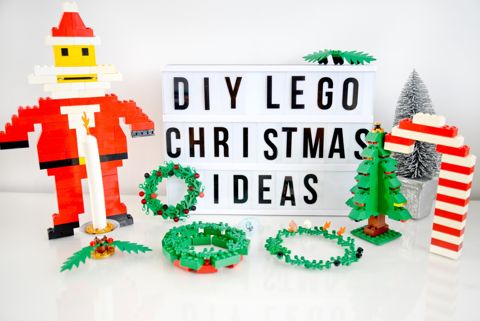 christmas lego, DIY christmas lego ornaments, DIY lego christmas decorations, Lego Christmas candy cane, lego santa, lego christmas tree, lego wreaths