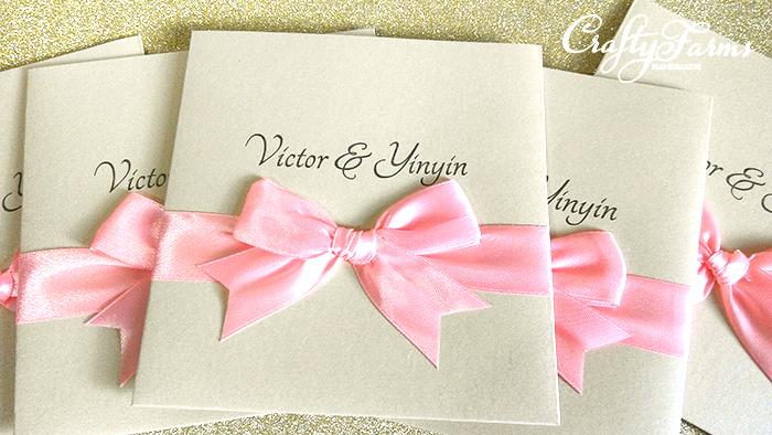 Pocket Wedding Invitation Cards With Pink Ribbon Bow