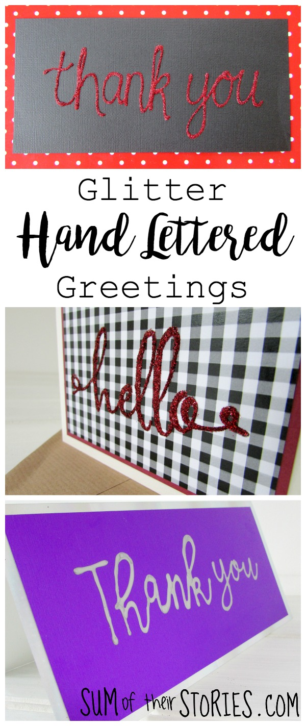 Glitter Hand lettered Greeting Cards