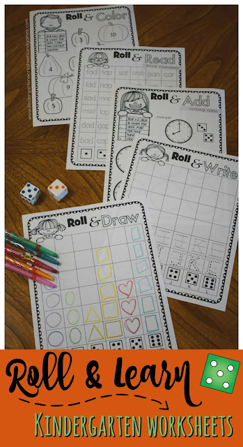 FREE Roll & Learn FALL Kindergarten Worksheets